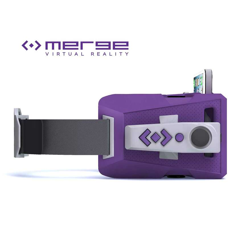 Side view of the MergeVR Virtual Reality Goggles (with Motion Controller attached).