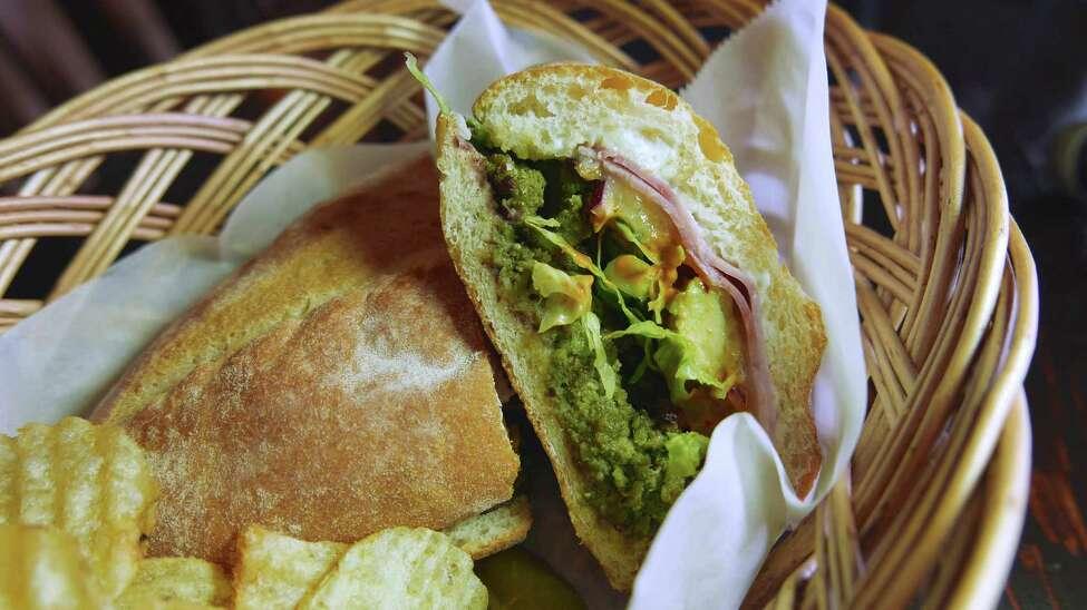 Torta toloqueña from Malinalli Bakery & Bistro: Inside a house-baked bolillo, mozzarella, black beans, avocado and lettuce combine with housemade green chorizo.