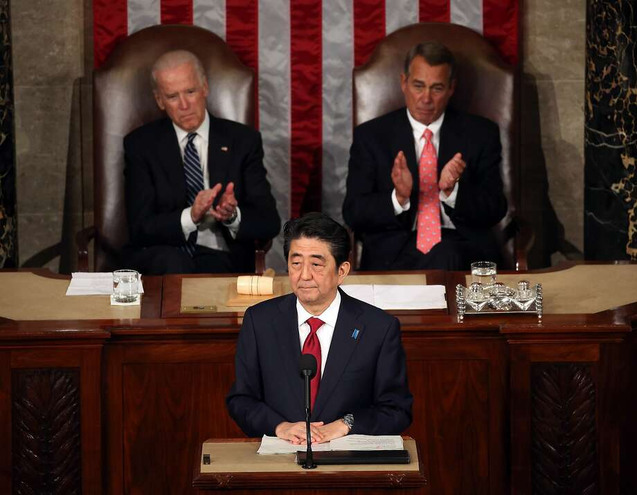 Japanese Prime Minister Shinzo Abe speaks to a joint meeting of the U.S. Congress Photo: Mark Wilson
