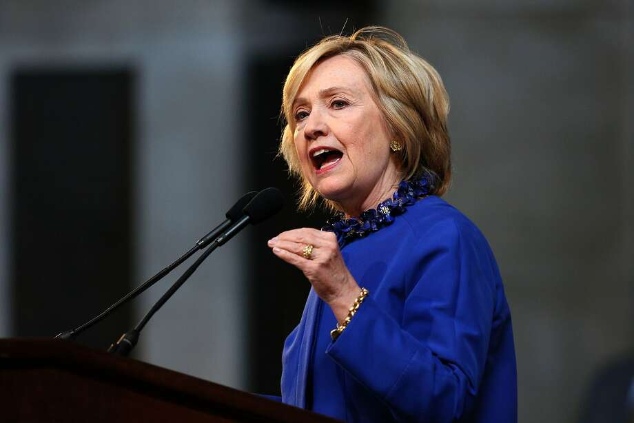 Hillary Clinton delivers the keynote address at the 18th Annual David N. Dinkins Leadership and Public Policy Forum at Columbia University, in New York, April 29, 2015. AFP PHOTO/TREVOR COLLENSTREVOR COLLENS/AFP/Getty Images Photo: Trevor Collens, AFP / Getty Images