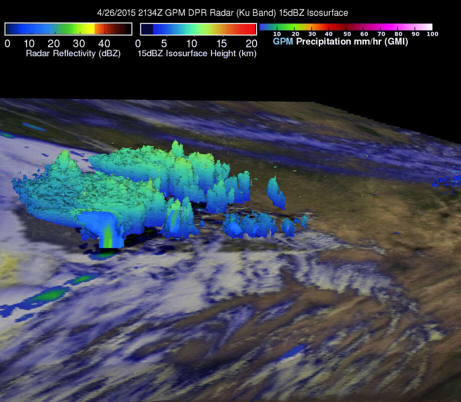 This 3D image shows the topography of Texas' severe Sunday storms from above. Hal Pierce with the Global Precipitation Monitoring Missions at NASA's Goddard center created the image from satellite data and added color corresponding with cloud altitude. 