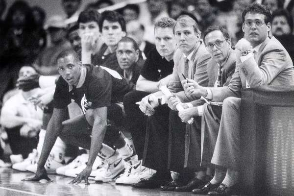 Assistant coach Gregg Popovich, head coach Larry Brown and assistant coach R.C. Buford in a 1990 contest.