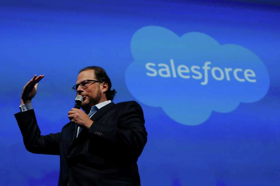 Marc Benioff, Salesforce.com chairman and CEO, speaks on stage before former Secretary of State Hillary Rodham Clinton gives her keynote in Moscone South on Tuesday, October 14,  2014 in San Francisco, Calif. Photo: Lea Suzuki / The Chronicle / ONLINE_YES