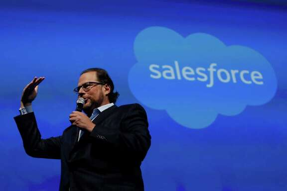 Marc Benioff, Salesforce.com chairman and CEO, speaks on stage before former Secretary of State Hillary Rodham Clinton gives her keynote in Moscone South on Tuesday, October 14,  2014 in San Francisco, Calif.