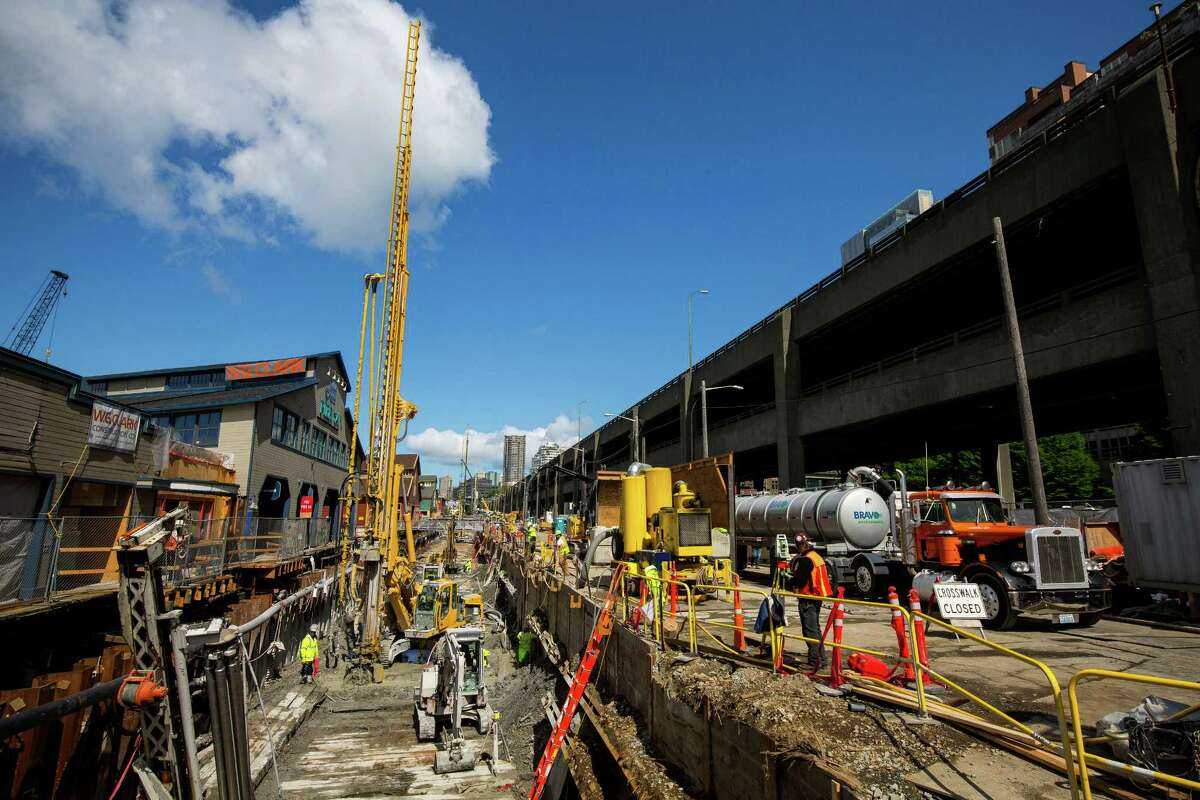 Construction continues on the Seawall Replacement Project as seen on a media tour Wednesday, April 29, 2015, at Pier 54 in Seattle, Washington. The City and 15 businesses agreed to close the Central Waterfront due to the rebuild of the seawall in October 2014. Ivar's on Pier 54 will reopen 63 days from now, on July 1, 2015, at 10 am, following the largest pier renovation since the 1970s.