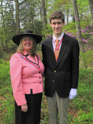 On April 19, Nicholas Oxaal, 17, of Cohoes was installed as the New York State President of the Children of the American Revolution at a ceremony at Mount Vernon, Virginia. Pictured with him is New York State Senior President Elizabeth Mosher of Little Falls. Oxaal?s state theme of the 2015-16 year will be ?Let Freedom Ring.? He will raise funds for an interactive Meneely bell chime stand exhibit at the Burden Iron Works Museum in Troy. (Submitted photo) Photo: Picasa