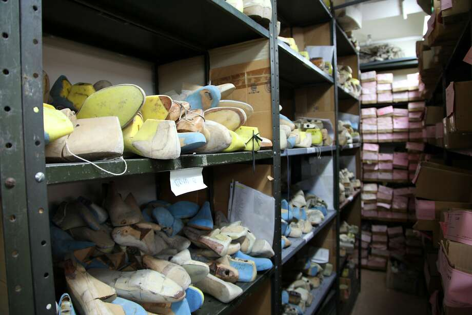 Wooden shoe molds of Broadway performers are kept at T.O. Dey in New York. Photo: Mark Kennedy, Associated Press