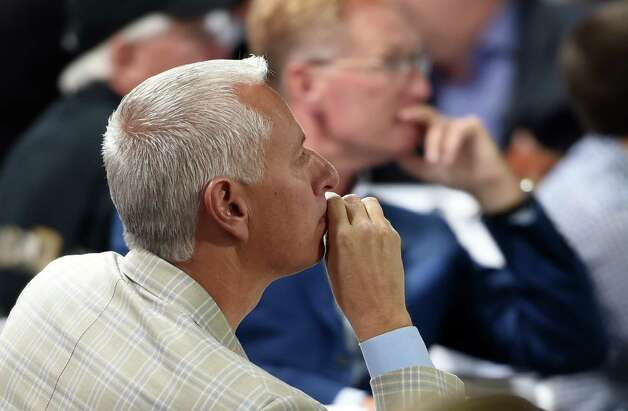 Trainer Todd Pletcher, who has four entrants in the 141st Kentucky Derby listens intently at the Post Position Draw ceremony held Wednesday April 29, 2015 at Churchill Downs in Louisville, Kentucky.      (Skip Dickstein/Times Union) Photo: SKIP DICKSTEIN