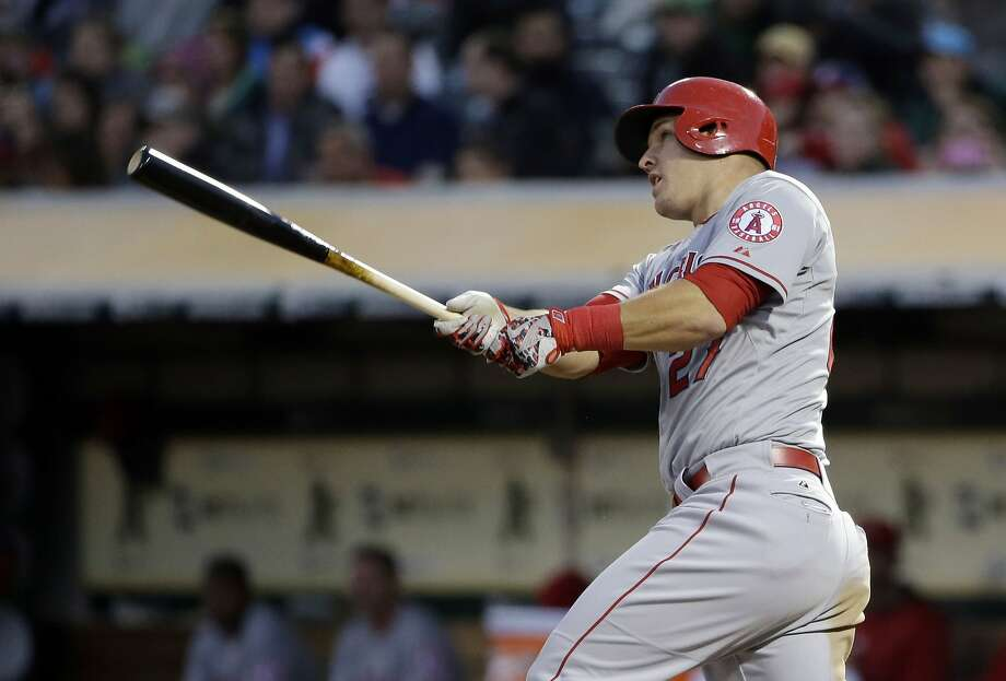 Mike Trout had a homer, double and three RBIs Wednesday. Photo: Marcio Jose Sanchez, Associated Press