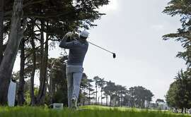 Jordan Spieth follows his drive from the fourth tee at TPC Harding Park during round-robin play against Mikko Ilonen, of Finland, at the Match Play Championship golf tournament Wednesday, April 29, 2015, in San Francisco. (AP Photo/Eric Risberg)