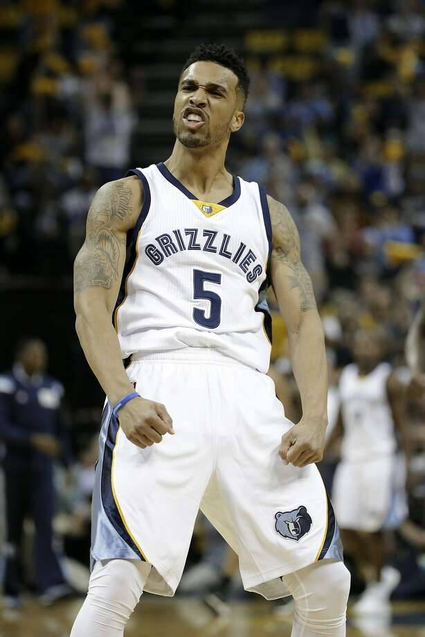 Grizzlies guard Courtney Lee celebrates after a score against the Trail Blazers in the first half of Game 5 as Memphis went on win and earn a semifinal matchup with the Warriors. Photo: Mark Humphrey, Associated Press