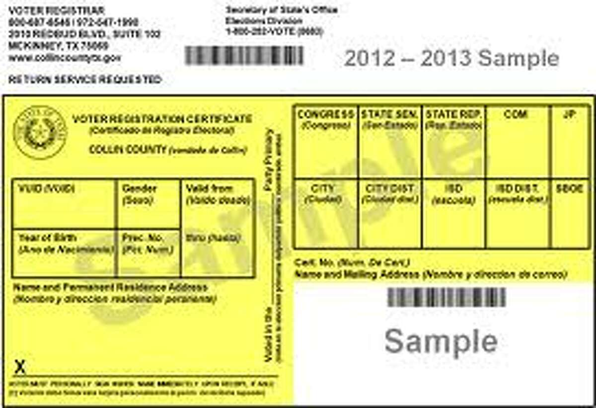 Example of voter registration card in Texas
