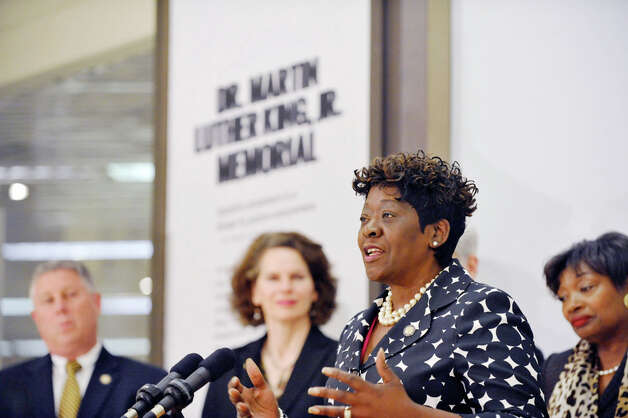 """Assembly Member Crystal Peoples-Stokes addresses those gathered for an event on the Empire State Plaza concourse on Wednesday, April 29, 2015, in Albany, N.Y.  A new glass sculpture titled """"Seeds of Enlightenment,"""" which is the centerpiece of the Dr. Martin Luther King, Jr. Memorial, was unveiled. (Paul Buckowski / Times Union) Photo: PAUL BUCKOWSKI, Albany Times Union / 00031643A"""