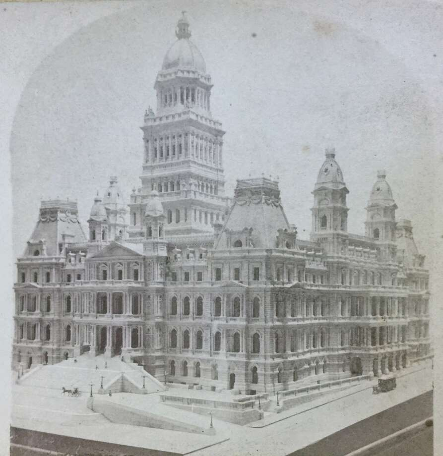 A photo from a stereoscopic slide circa 1876 of a $4,000 scale model of the State Capitol made by architects Fuller and Laver. This design was revised considerably as construction proceeded.