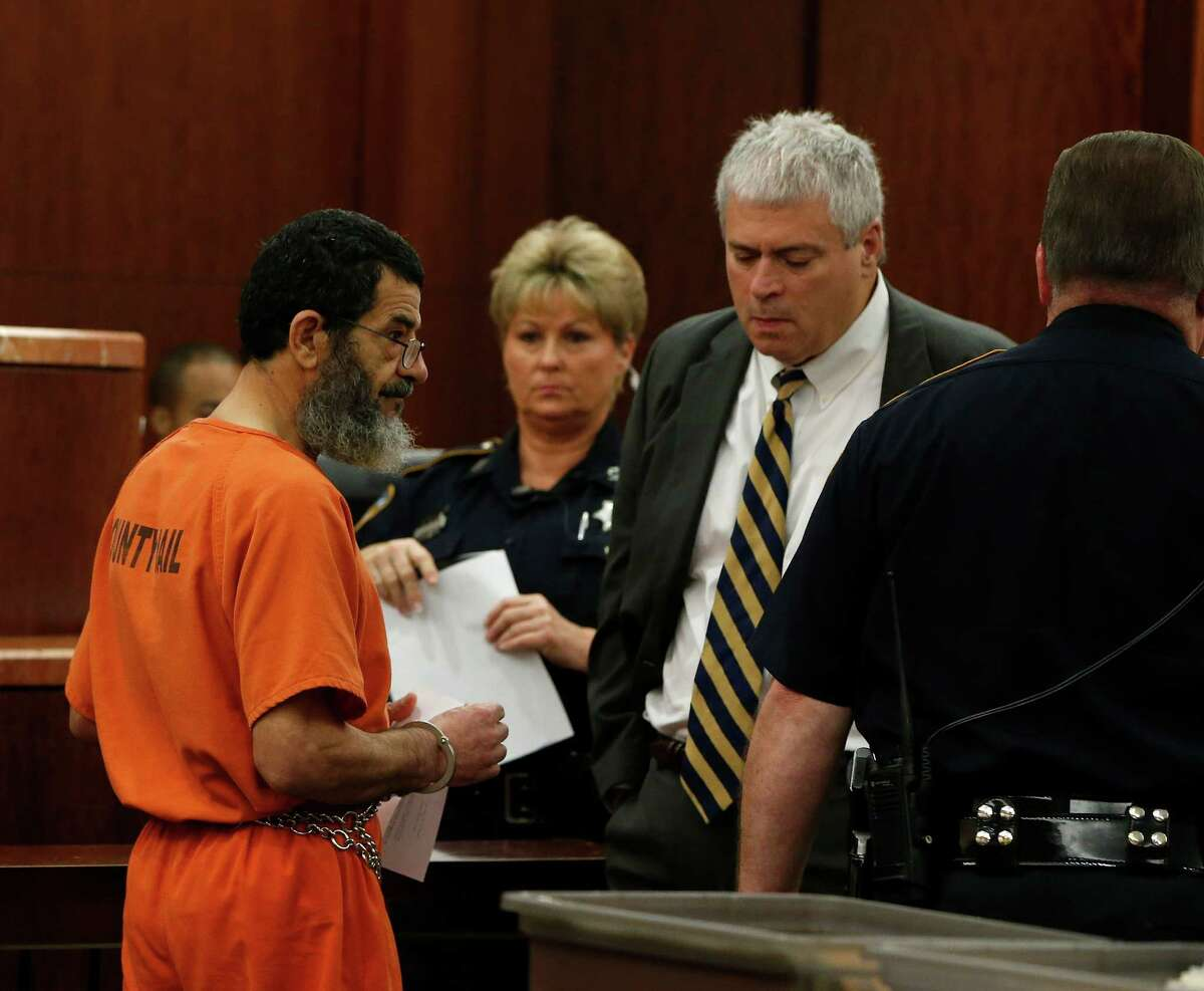 Ali Mahwood-Awad Irsan, 57, who is accused of gunning down an Iranian medical student, Gelareh Bagherzadeh in January 2012, appeared in 184th state District court on Thursday, April 30, 2015, in Houston.