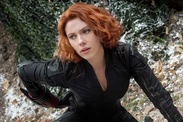 "This photo provided by Disney/Marvel shows, Scarlett Johansson as Black Widow/Natasha Romanoff, in the film, ""Avengers: Age Of Ultron."" The movie releases in the U.S. on May 1, 2015. (Jay Maidment/Disney/Marvel via AP)"