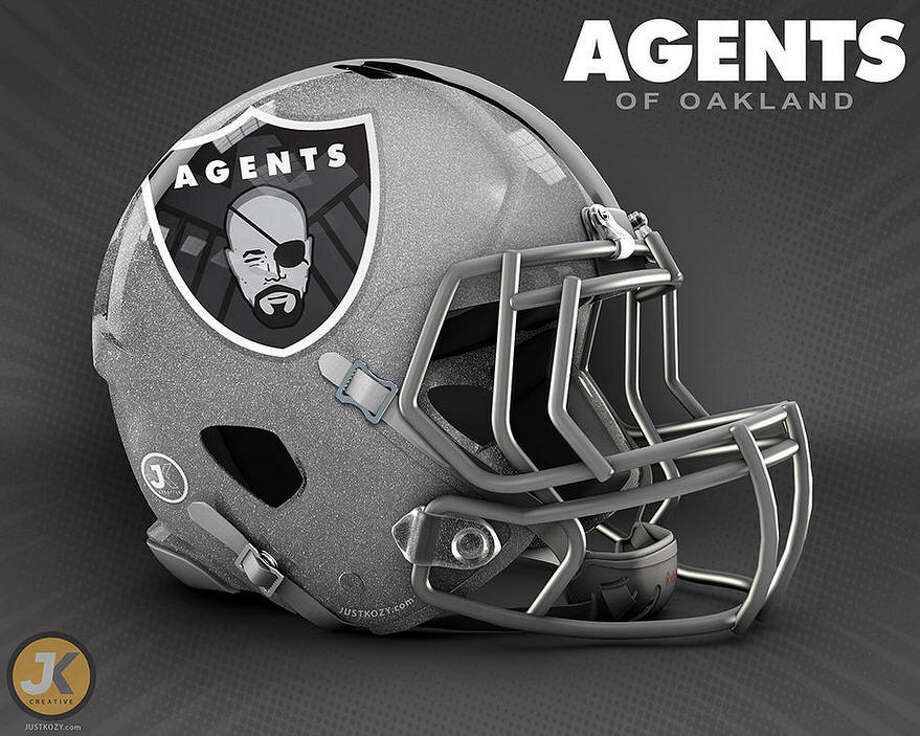 Agents of OaklandThis NFL concept helmet from graphic artists Justin Kozisek of JK Creative mashes up a classic NFL logo with a character from the Marvel comic book and movie universe. Photo: Justin Kozisek ,  JK Creative