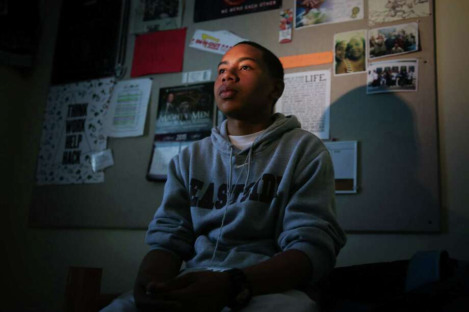 Diamond Allen, pictured in his dorm room at his new school, Eastside College Preparatory Academy. Photo: Jeremy Raff/KQED / Jeremy Raff/KQED
