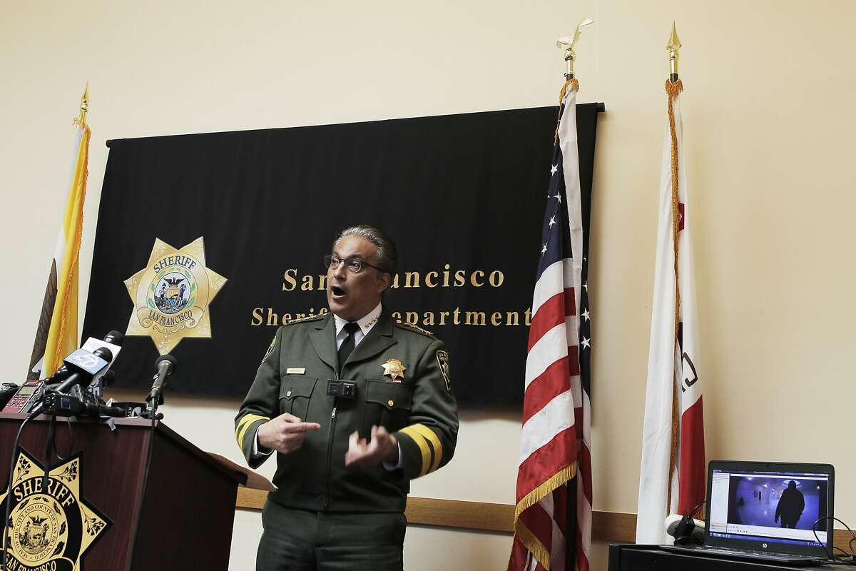 San Francisco Sheriff Ross Mirkarimi shows off and explains the capabilities of a police body camera for a news conference in City Hall San Francisco, Calif., Thursday April 30, 2015.