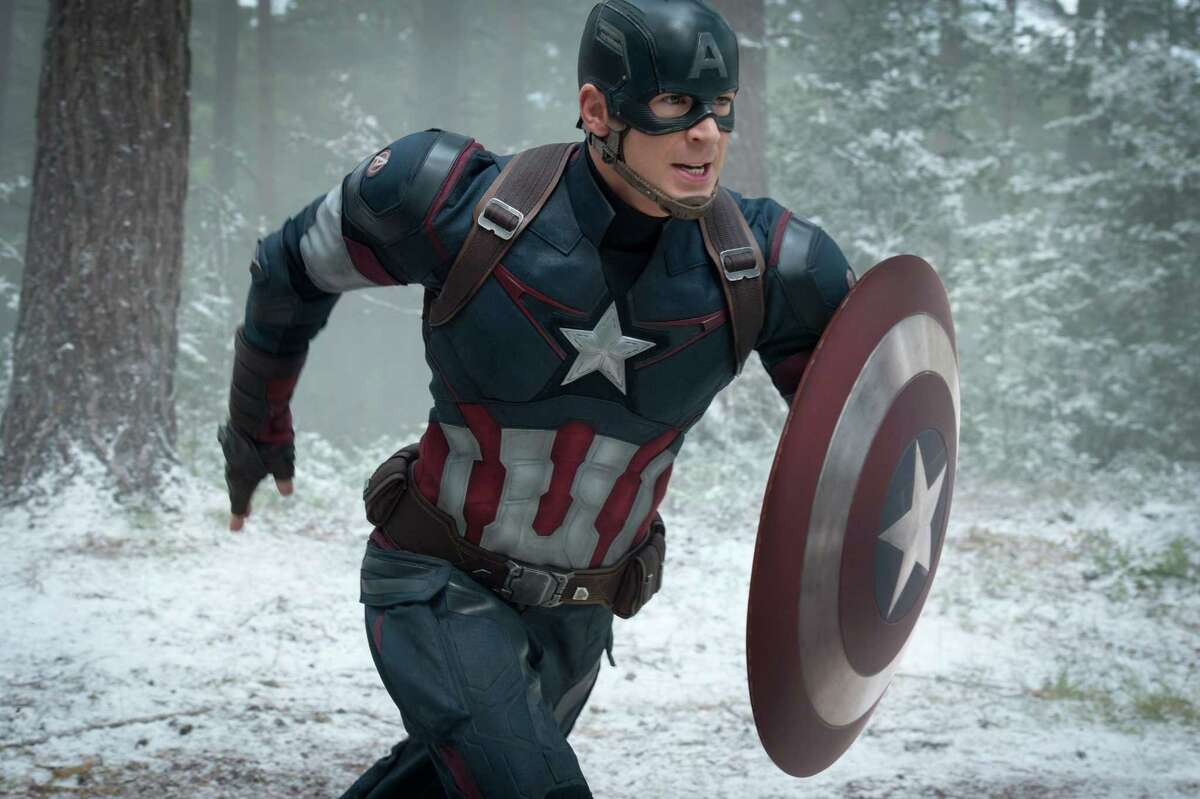 """This photo provided by Disney/Marvel shows, Chris Evans as Captain America/Steve Rogers, in the new film, """"Avengers: Age Of Ultron."""" The movie releases in U.S. theaters on May 1, 2015. (Jay Maidment/Disney/Marvel via AP) ORG XMIT: NYET407"""
