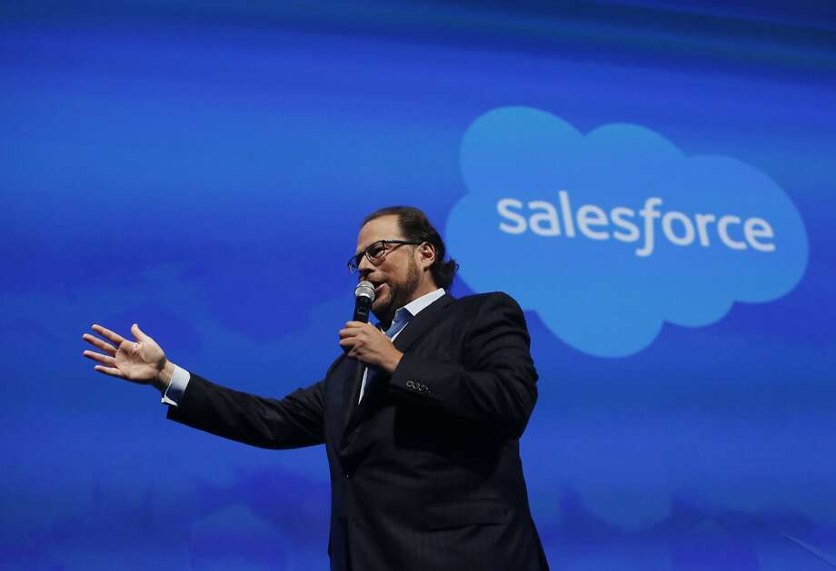 Marc Benioff, Salesforce.com chairman and CEO, speaks on stage before former Secretary of State Hillary Rodham Clinton gives her keynote in Moscone South on Tuesday, October 14,  2014 in San Francisco, Calif. Photo: Lea Suzuki, The Chronicle