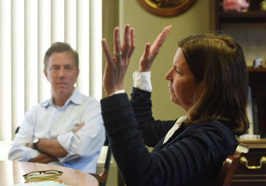 Greenwich residents Jenny Baldock and Ned Lamont speak about their recent visit to Iran at Lamont's office in Greenwich, Conn. Thursday, April 30, 2015. Photo: Tyler Sizemore / Greenwich Time