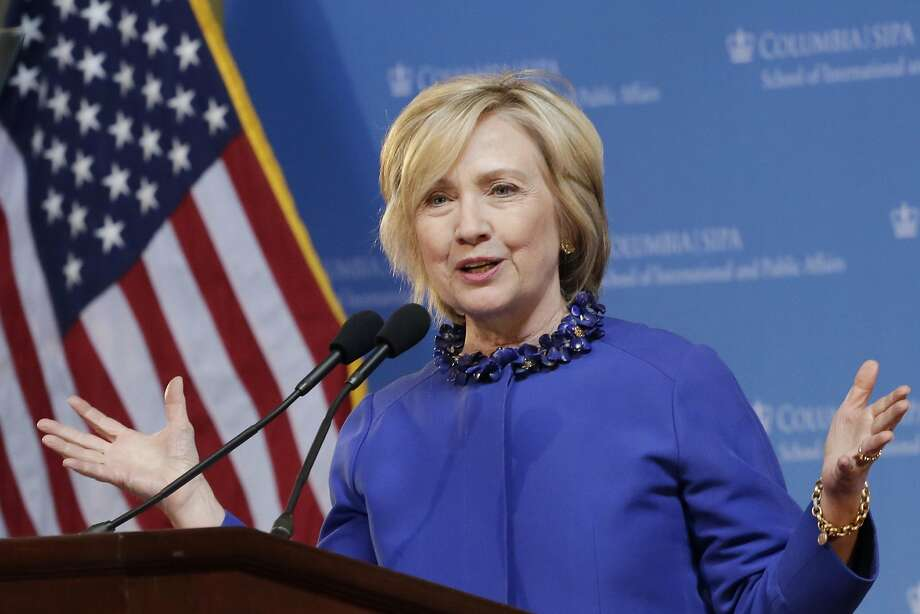 In this April 29, 2015, photo, Democratic presidential hopeful former Sen. Hillary Rodham Clinton speaks at the David N. Dinkins Leadership and Public Policy Forum in New York. Jeb Bush wants Republicans to know he's breaking fundraising records. Clinton wants Democrats to think she won't.  (AP Photo/Mark Lennihan) Photo: Mark Lennihan, Associated Press