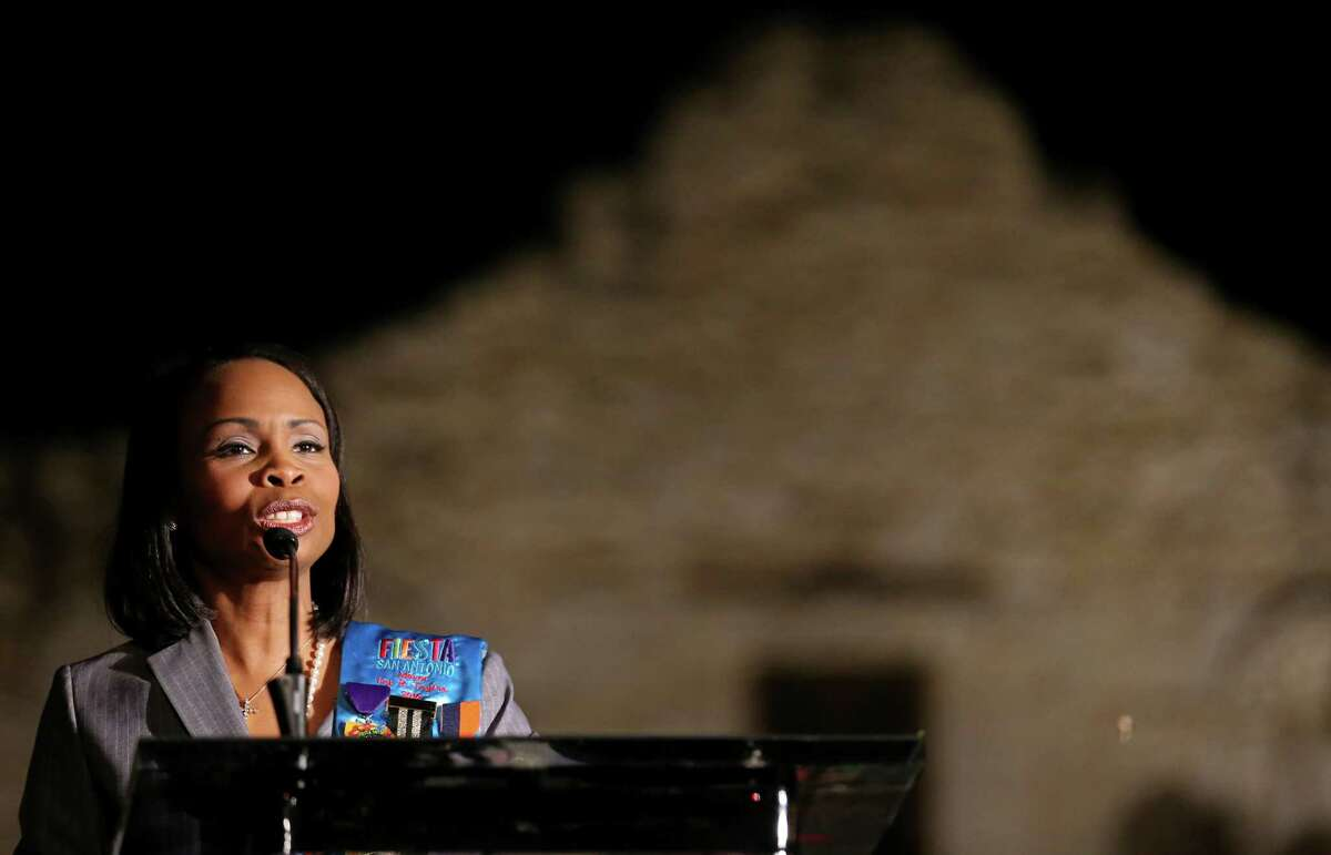 Mayor Ivy Taylor speaks during the Fiesta Fiesta at the Alamo event, the official opening of Fiesta Thursday April, 16, 2015.