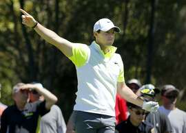 Rory McIlroy pointed to the path of his ball after his tee shot on third hole Thursday April 30, 2015. PGA Tour's Match Play Championship, day two, held at Harding Park in San Francisco, Calif.