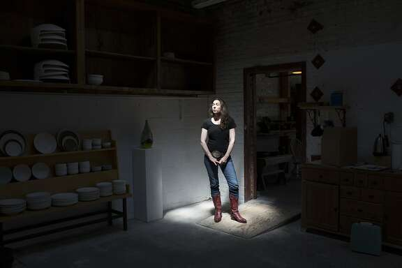 Sarah Kobrinsky, the Poet Laureate of Emeryville, was pushed out of Emeryville after the landlord raised her rent. She is photographed at store run by her and her husband, Jered's Pottery, in Berkeley, Calif. on Thursday, April 30, 2015.