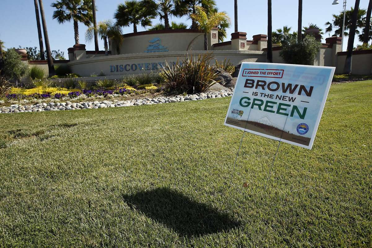 """""""Brown is the New Green"""" sign at Discovery Bay Boulevard entrance in Discovery Bay, Calif., on Thursday, April 30, 2015."""