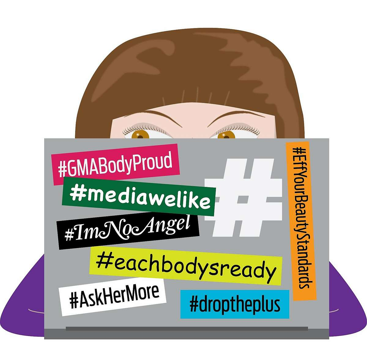 """In light of #ThankYouEllenPao in our own backyard, we can't help but notice a wave of hashtag campaigns that make positive statements for women and counter the notoriously negative nature of social media. Recent ones ask red-carpet arrivals interviewers to #askhermore, encourage modeling agencies to #droptheplus, and boost the self esteem of women with a #speakbeautiful ad campaign. Call it the (feminist) bumper sticker of the """"me"""" generation -- and the backlash against pseudo-natural #wokeuplikethis posts. Sources: Twitter/Dove (#speakbeautiful), Jennifer Newsom (The Representation Project), Kate Upton (model who got famous via social media and has now spoken out against it), and Ajay Rochester (who created #DropthePlus)."""