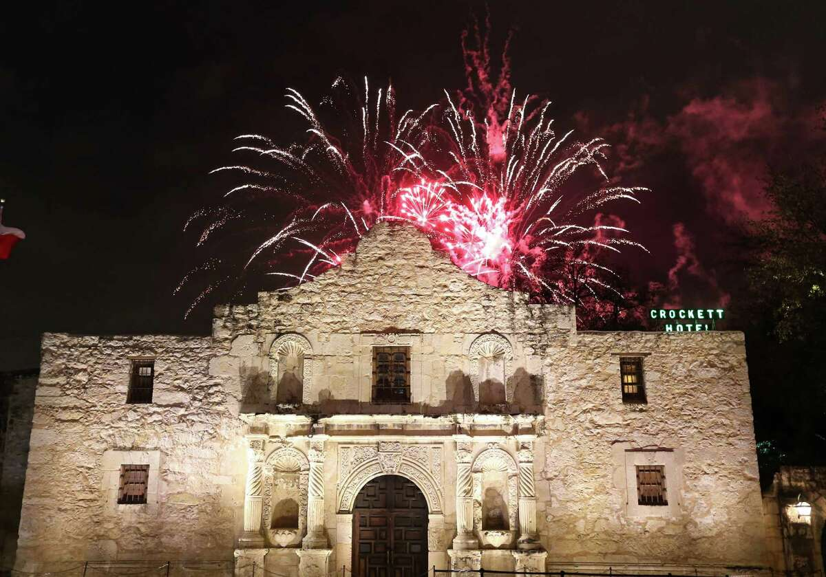 Fireworks explode behind the Alamo during the Fiesta Fiesta at the Alamo event, the official opening of Fiesta Thursday April, 16, 2015.