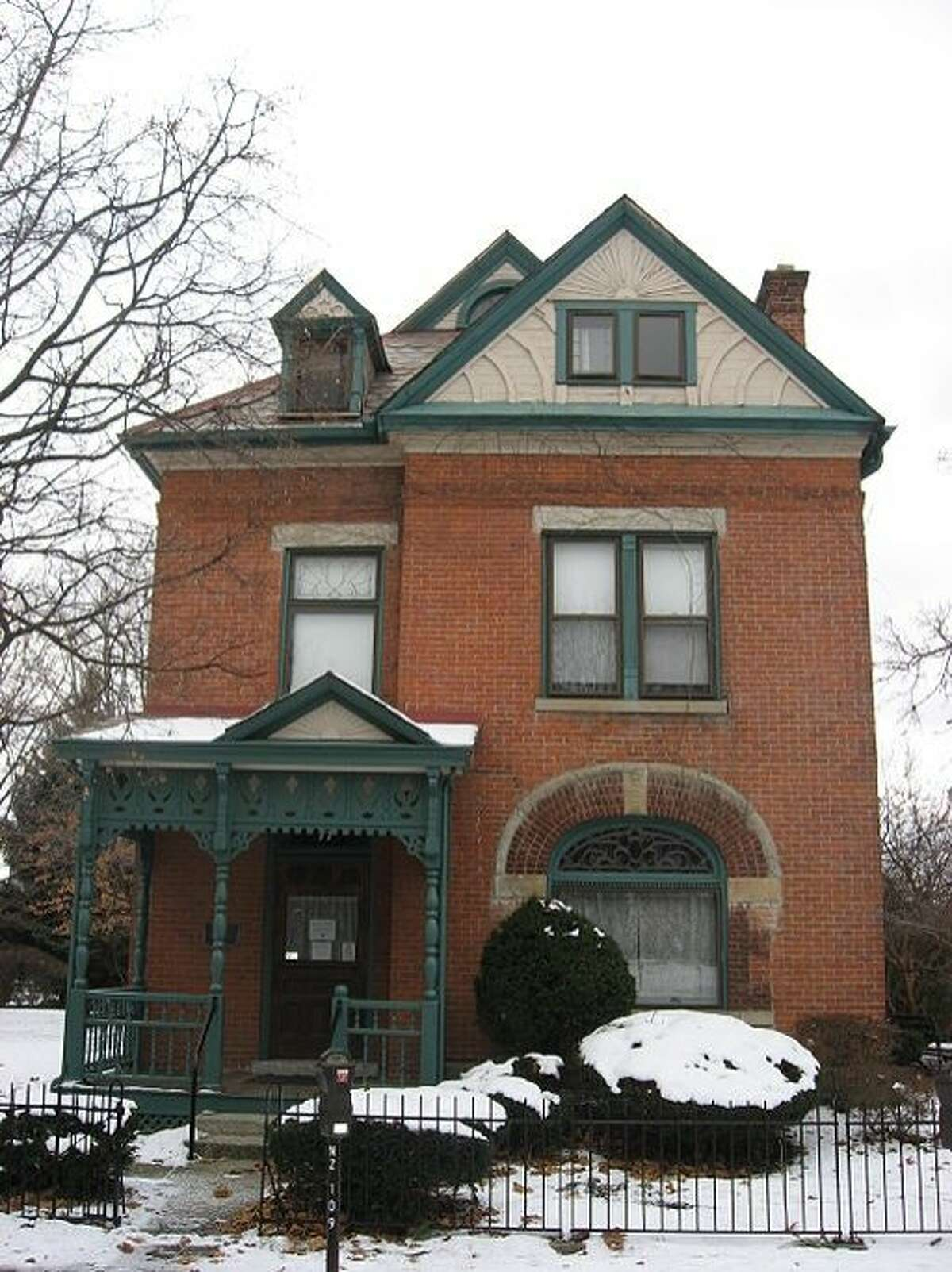 Front of the James Thurber House, located at 77 N. Jefferson Avenue in Columbus, Ohio. Built in 1873, it is listed on the National Register of Historic Places, and it is a part of a Register-listed historic district, the Jefferson Avenue Historic District.