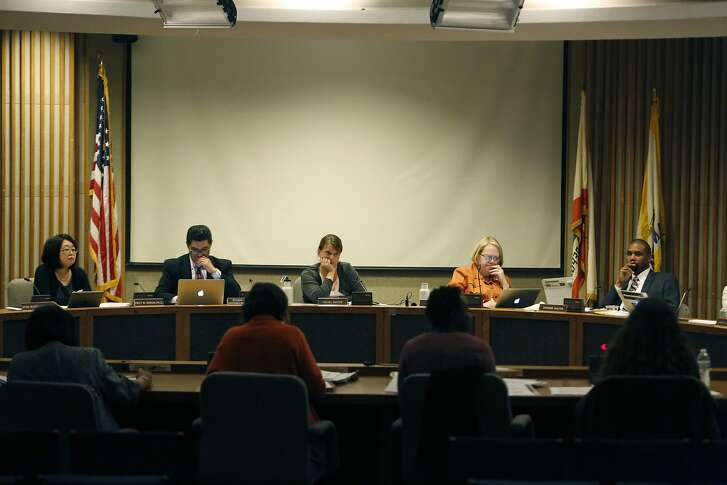 Emily Murase (l to r), school board president; Richard Carranza (l to r), superintendent San Francisco Unified School District; Rachel Norton, school board member; Jill Wynns, school board member; and Shamann Walton, school board member; are seen during board discussion at a meeting of  the Board of Education Augmented Ad Hoc  Committee on Student Assignment in the Irving G. Breyer Board Meeting Room on Monday, April 13, 2015 in San Francisco, Calif.