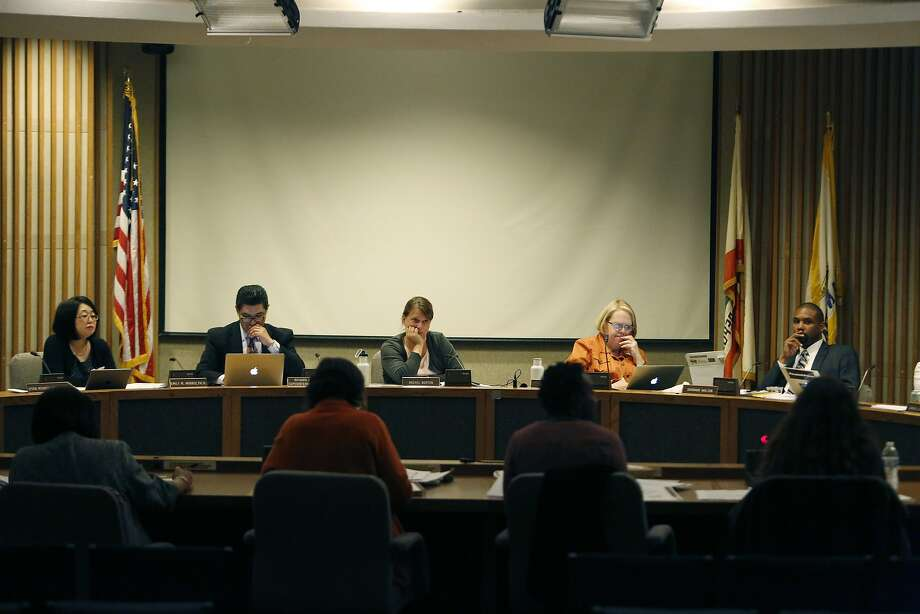 Emily Murase (l to r), school board president; Richard Carranza (l to r), superintendent San Francisco Unified School District; Rachel Norton, school board member; Jill Wynns, school board member; and Shamann Walton, school board member; are seen during board discussion at a meeting of  the Board of Education Augmented Ad Hoc  Committee on Student Assignment in the Irving G. Breyer Board Meeting Room on Monday, April 13, 2015 in San Francisco, Calif. Photo: Lea Suzuki, The Chronicle