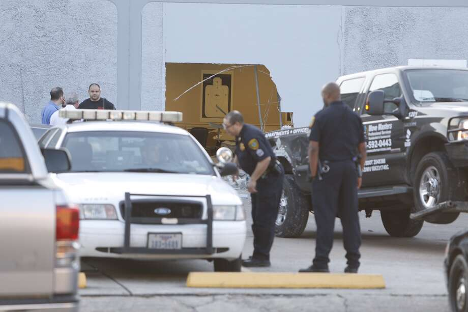 Thieves rammed a pickup truck into the side of an indoor shooting range Friday morning in southwest Houston.  The smash-and-grab burglary happened before 6 a.m. at Top Gun at 5901 Beverly Hill near Fountain View.