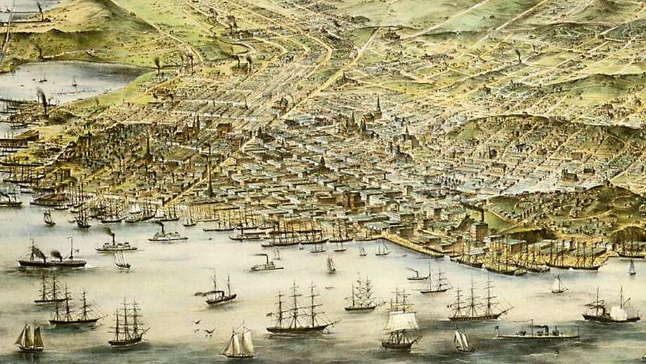 A bird's eye view map of San Francisco in 1873. Photo: Courtesy Of The Bancroft Library
