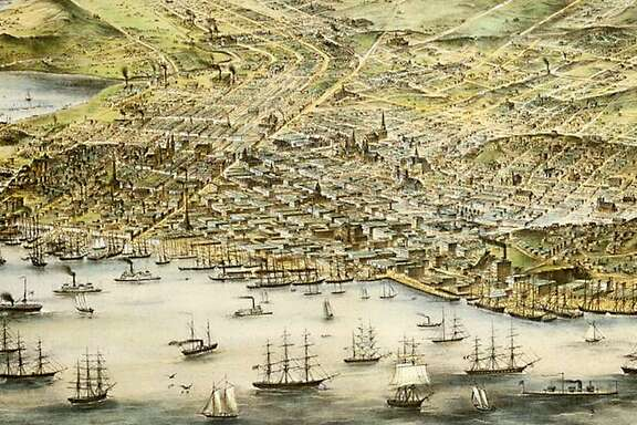 A bird's eye view map of San Francisco in 1873.