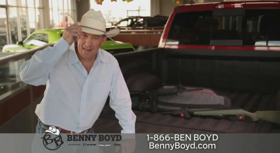 """Benny Boyd Automotive Group's dealership in Andrews will throw in a """"brand new AR-15 semi-automatic assault rifle, a Ruger deer rifle or a 9 mm handgun"""" with the purchase of a Chrysler, Dodge, Jeep or Ram truck, a video advertisement posted to the dealership's Facebook page. Photo: Screenshot Via Facebook"""