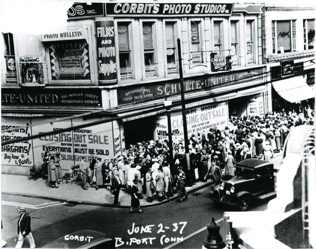 Corbit's Studio on the corner of Elm and Main streets in downtown Bridgeport circa 1937. Photo is courtesy of the Public LibraryâÄôs Bridgeport History Center.