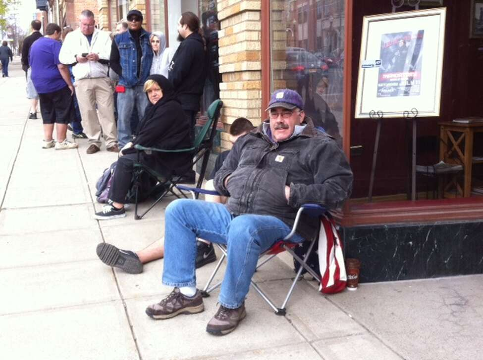 Aaron Gagnon of Rensselaer was the first in line for Sawyer Fredericks tickets at the Palace Theatre in Albany Friday morning. Photo by Gary Hahn