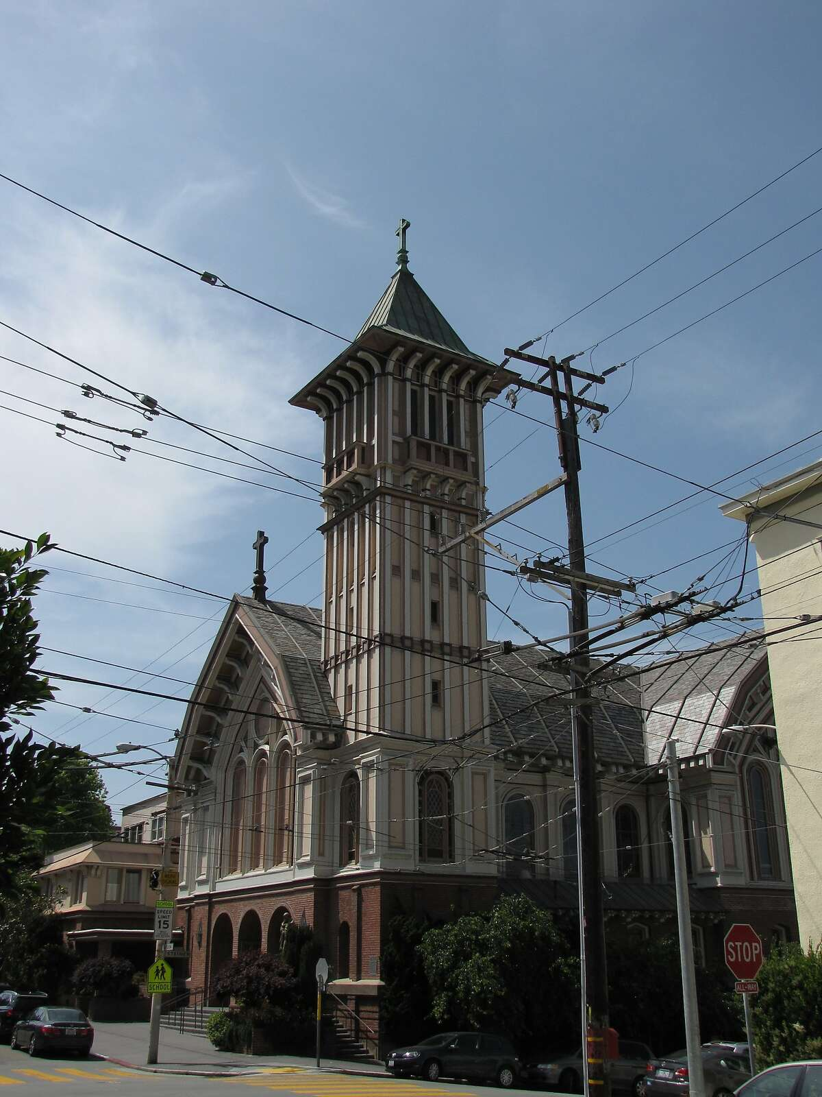 St. Vincent de Paul church at Green and Steiner streets in the Cow Hollow neighborhood of Pacific Heights. The architect was the firm of Shea & Lofquist.