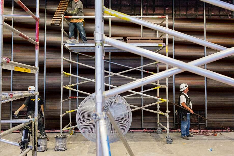 Constructions crews work to finish the new American Conservatory Theater which officially opens on May 14 on Market Street in San Francisco, Thursday, April 30, 2015. Here a black box theater upstairs. Photo: Jason Henry, Special To The Chronicle