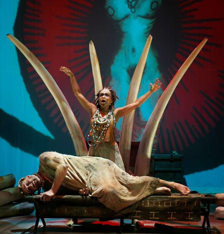"Shawnette Sulker and Philip Skinner in Opera Parallèles U.S. premiere of Tarik O'Regan's ""Heart of Darkness"" at Z Space. Photo: Steve DiBartolomeo"