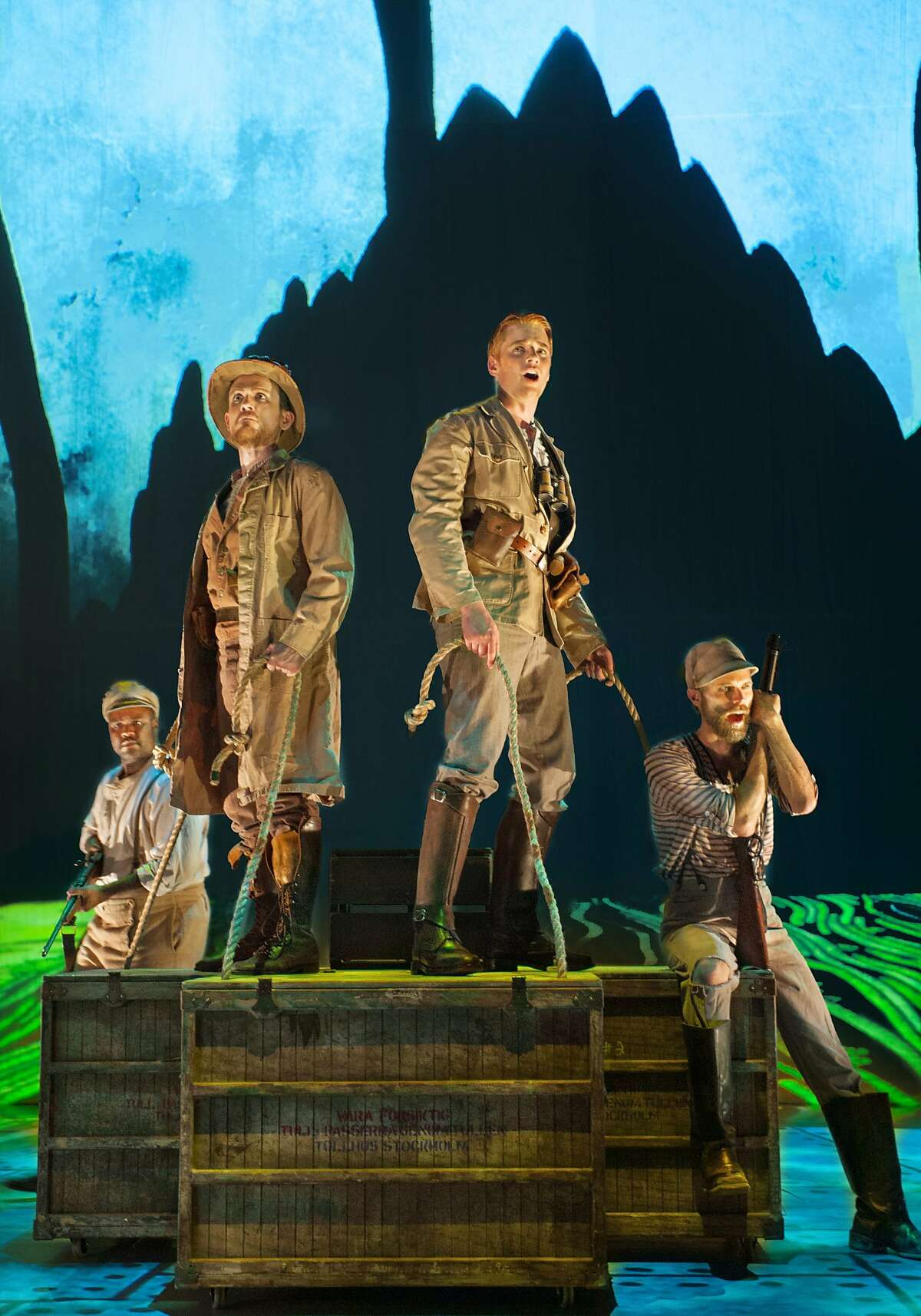(L to R) Michael Belle, Jonathan Smucker, Isaiah Bell and Daniel Cilli in Opera Parallèle's US premiere production of Tarik O'Regan's Heart of Darkness, May 1-3 at Z Space in San Francisco. Opera Parallele's 2015 production of Heart of Darkness. Photo: Steve DiBartolomeo