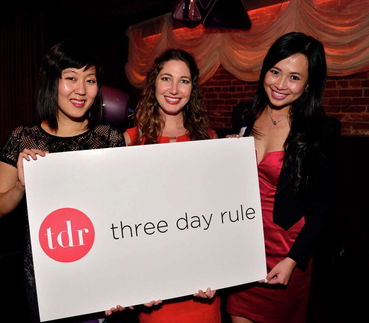 San Francisco's Tina Wie, Carla Swiryn and Louisa Liu, of matchmaking service Three Day Rule, are pictured at a recent event hosted by the company.