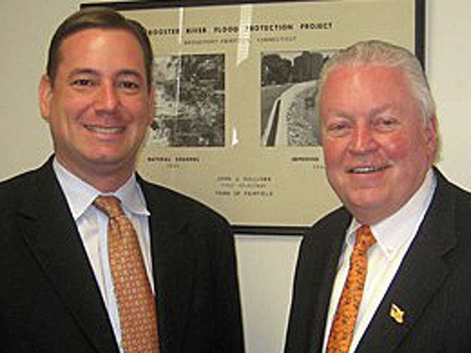 Brian V. Carey, left, with First Selectman Michael Tetreau, has been hired as Fairfield's new conservation director. Photo: Contributed Photo / Fairfield Citizen