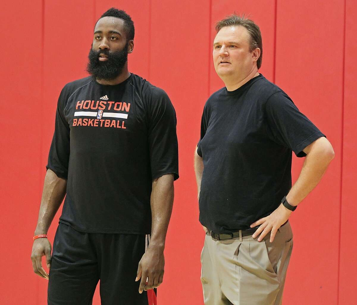 Rockets GM Daryl Morey (right) was quick to have James Harden's back after the star guard's defense was lampooned yet again by online critics. Click through the gallery to relive some of Harden's greatest games with the Rockets.