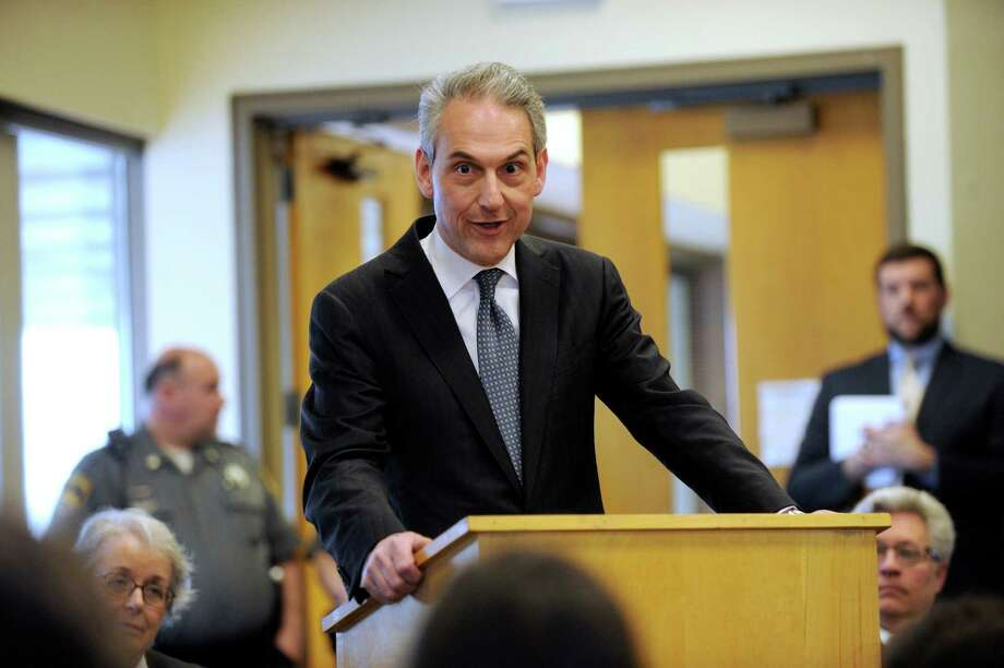 Attorney Chris Setaro speaks after accepting the Pro Bono Award on May 1, 2015 at the Superior Court House in Danbury, Conn. Photo: Carol Kaliff / The News-Times